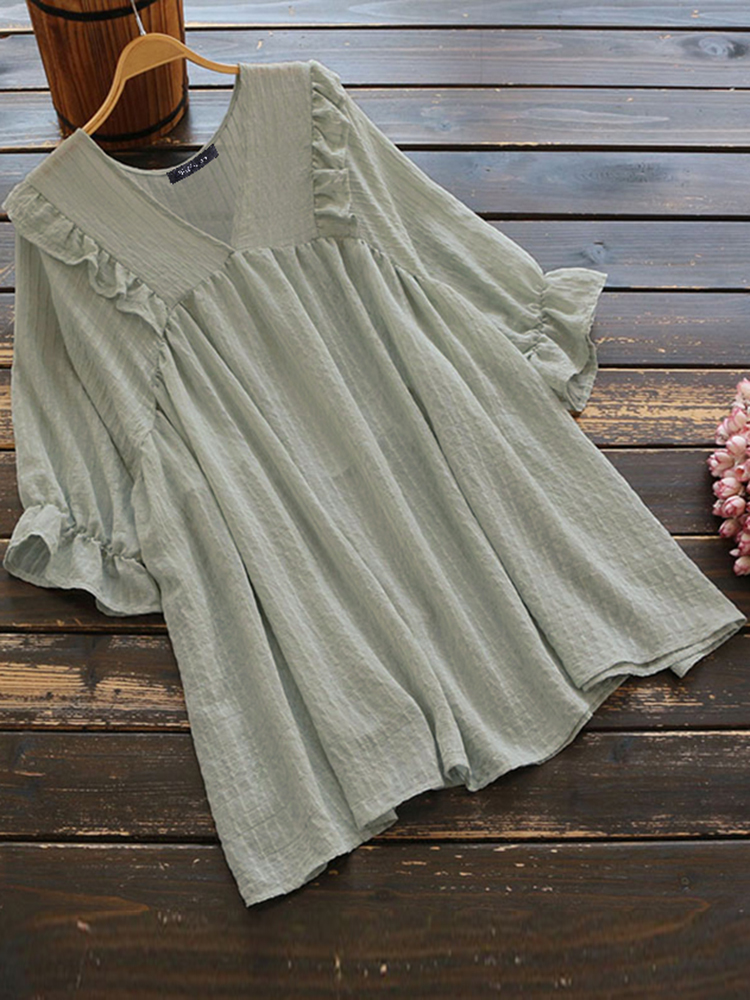 Women Casual Solid Color 3/4 Sleeve V-Neck Blouse