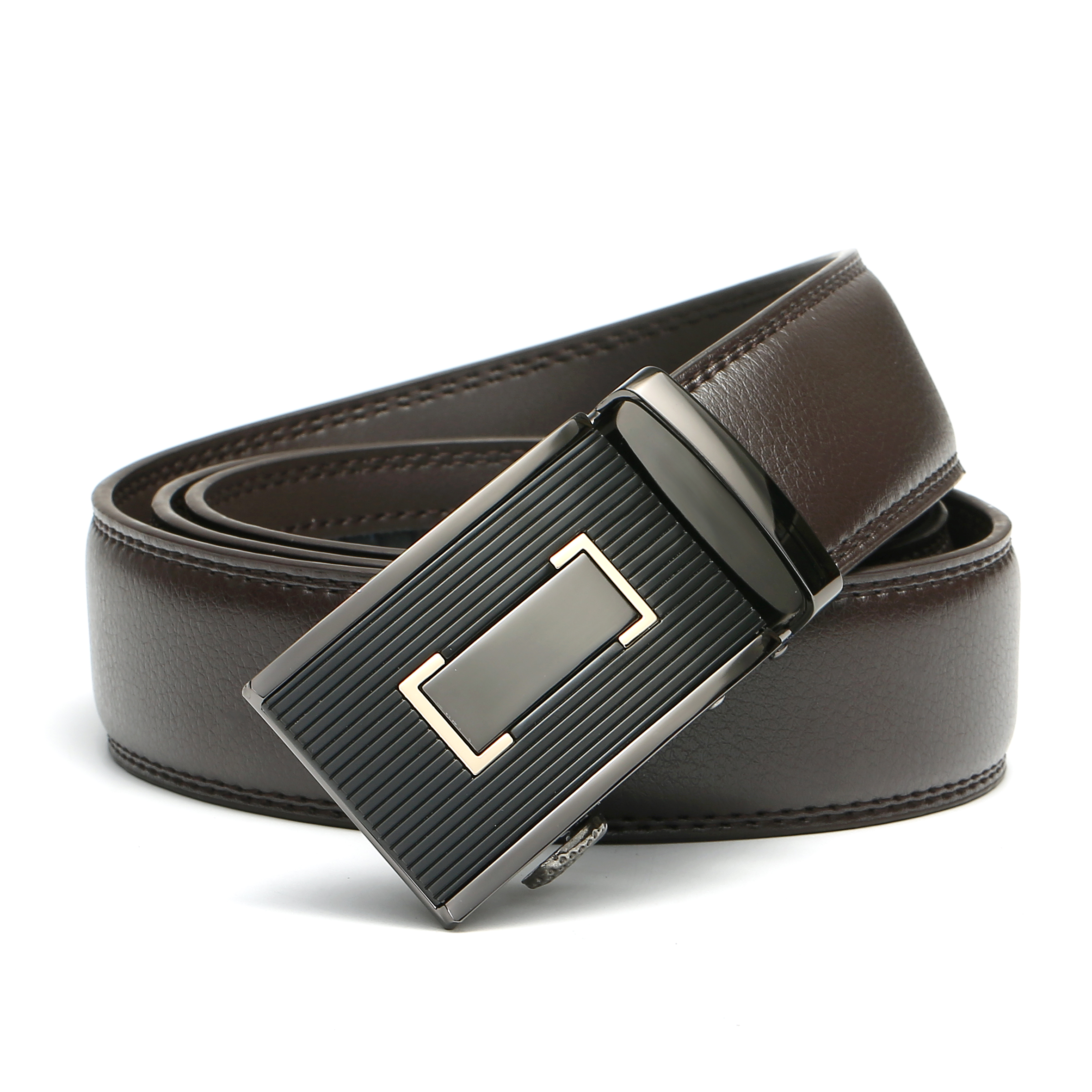 130cm Mens Business Casual Automatic Buckle Waistband Strap Genuine Leather Belt