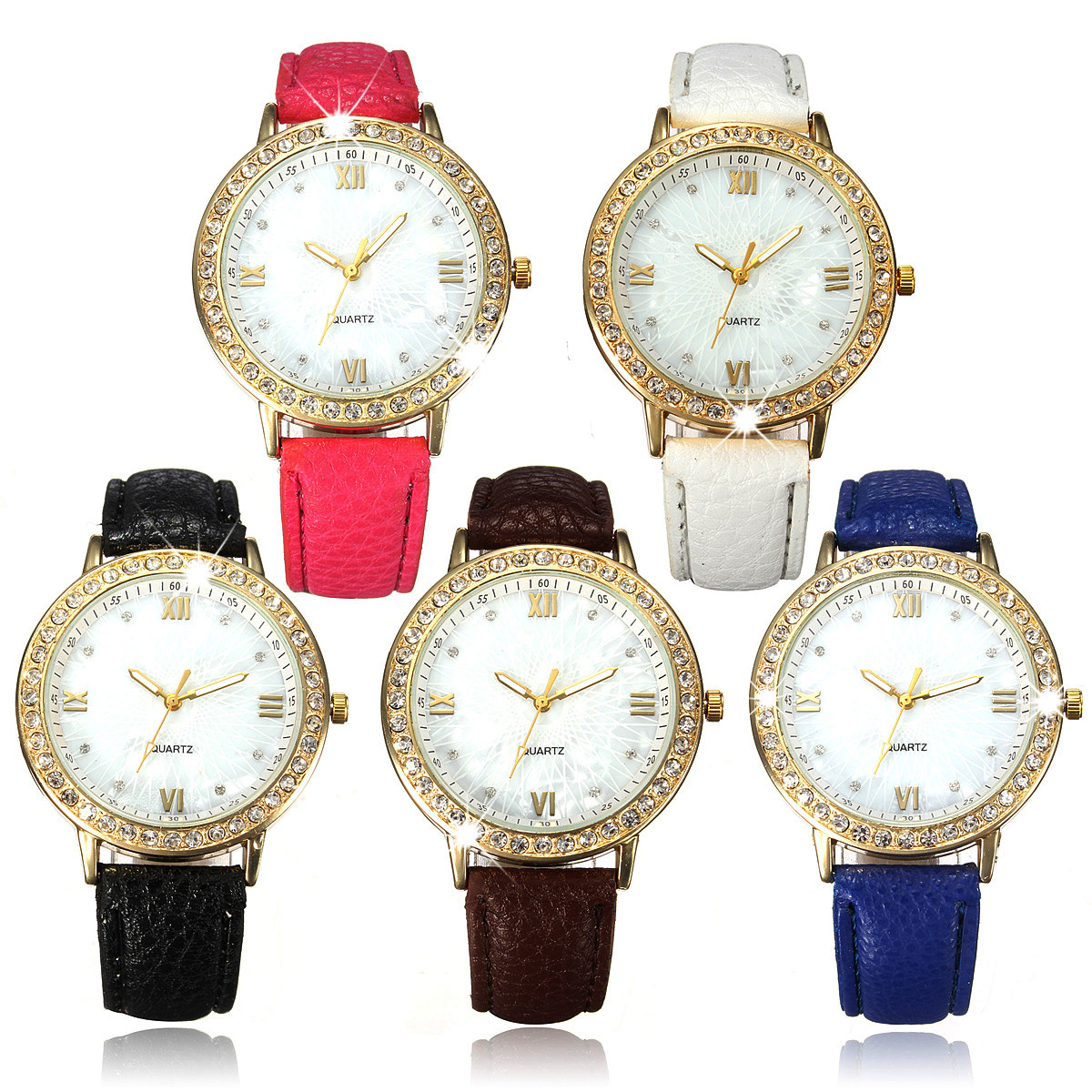 Fashion Gold Color Case Rhinestone PU Leather Band Crystal Women Quartz Watch