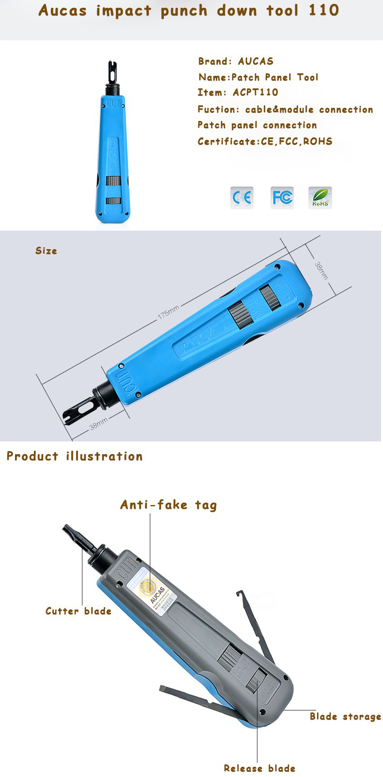 Aucas Network Cable Impact Krone Tool Module Block Insertion Punch Down Tool 110 Type Patch Panel Hookup Tool