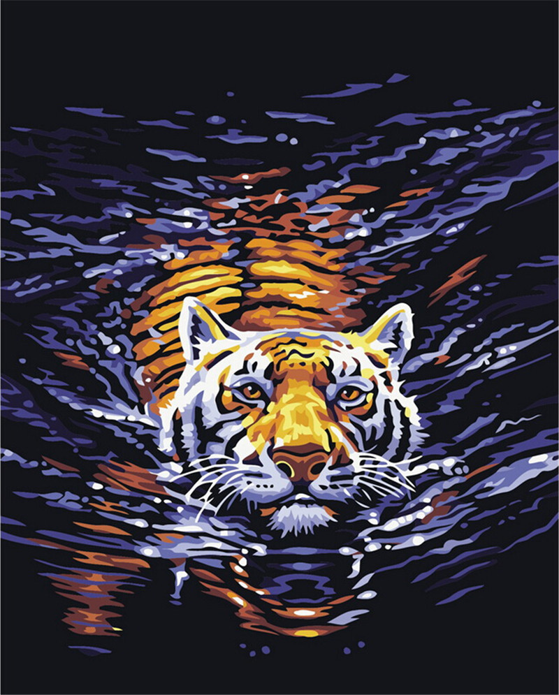 Digital Oil Painting DIY Oil Painting By Numbers Kits Tiger Frameless Canvas Home Wall Decor 40x50cm