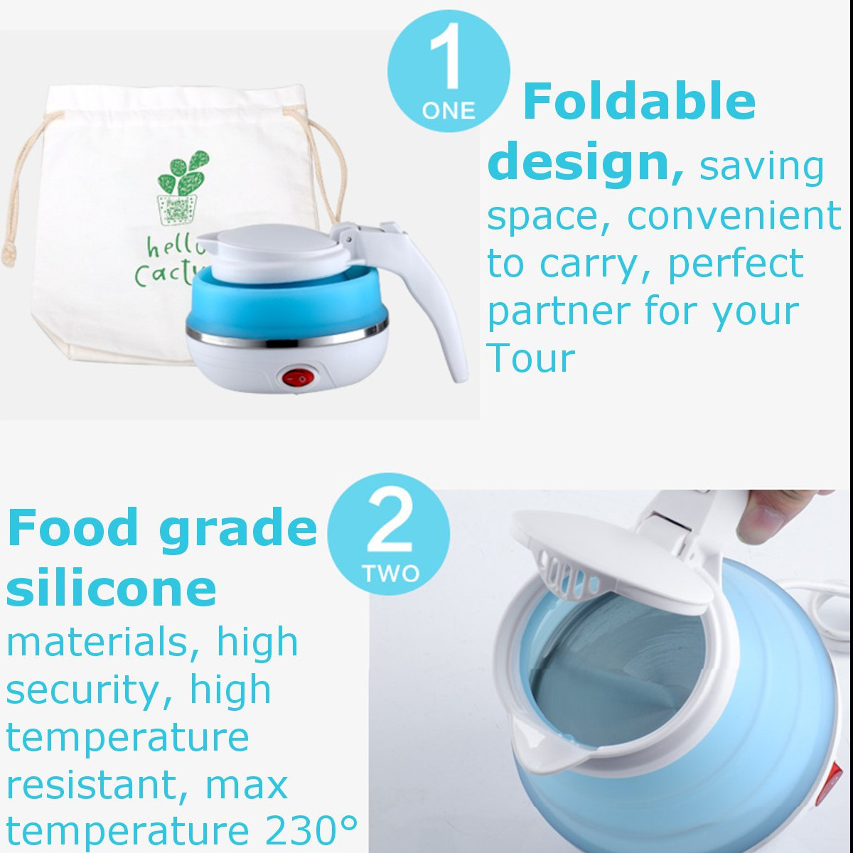 Silicone Foldable Collapsible Electric Kettle Camping Water Boiler Electric Foldable Kettle