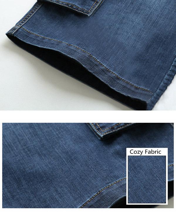 Summer Loose Light Weight Thin Soft Straight Leg Big Multi Pocket Short Men Cargo Jeans