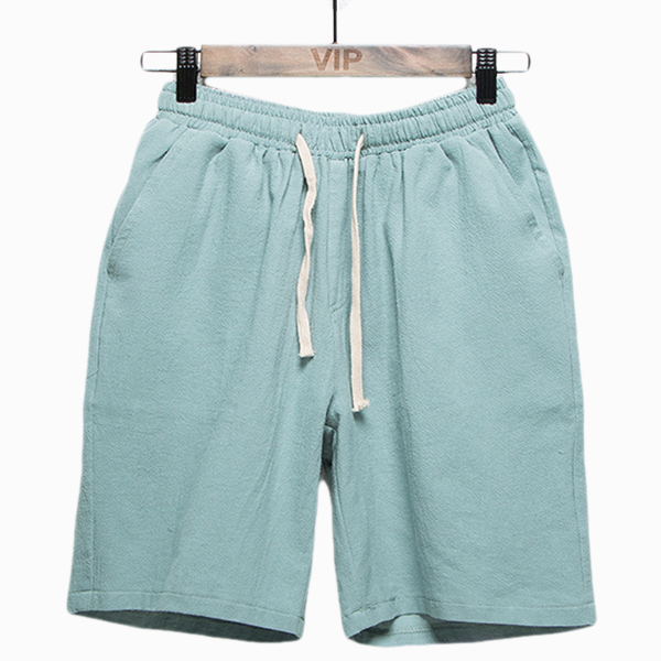 Mens Cotton Linen Casual Knee-Length Loose Shorts Pants