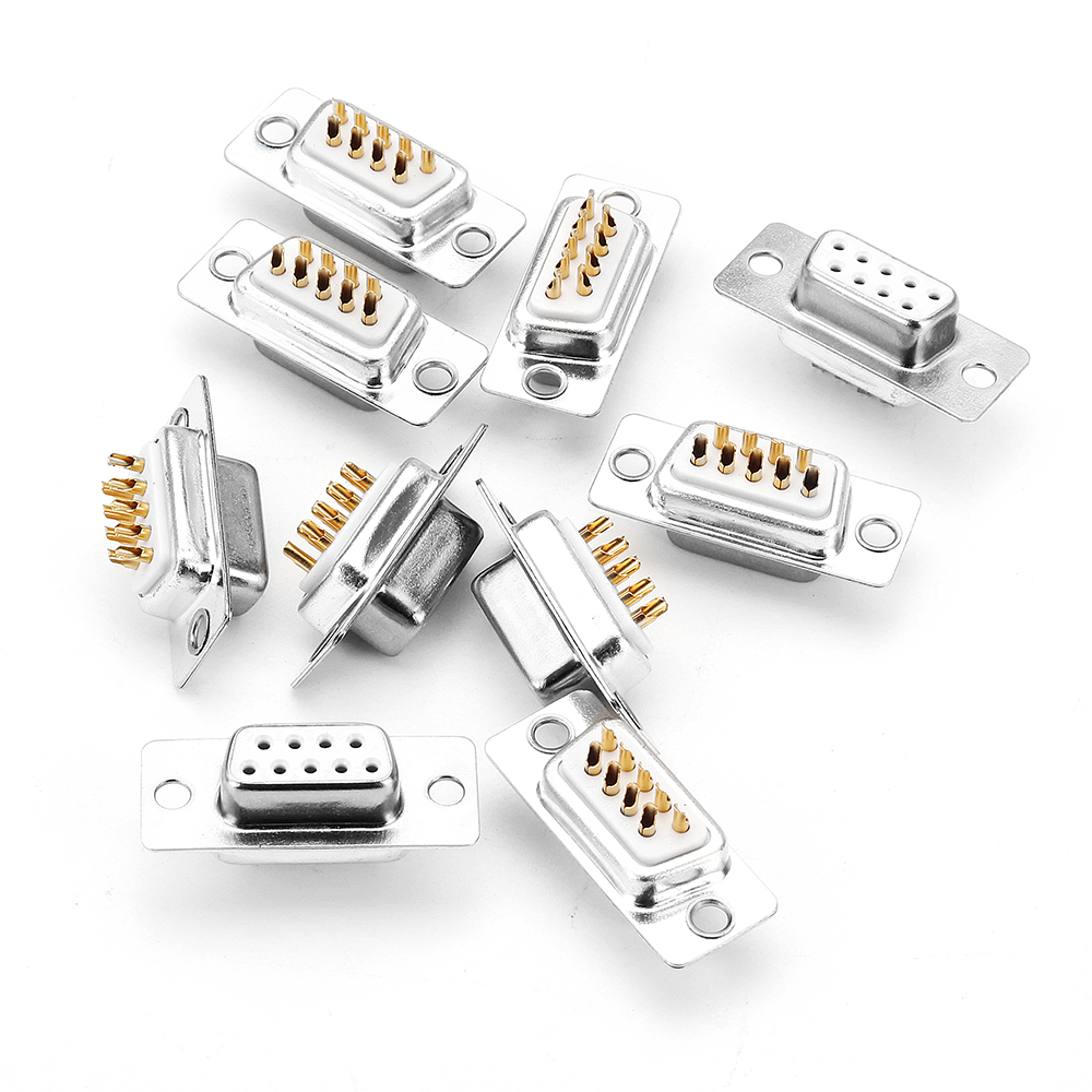 DB9 10Pcs Rectangle Female Two-Row 9-Holes Welding Wire Connector Plug Adapter Connector