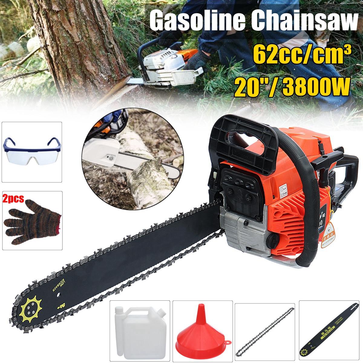 3800W Gas Gasoline Powered Chainsaw 62cc 2-stroke Gasoline Chain Saw Wood Pruning Cutting