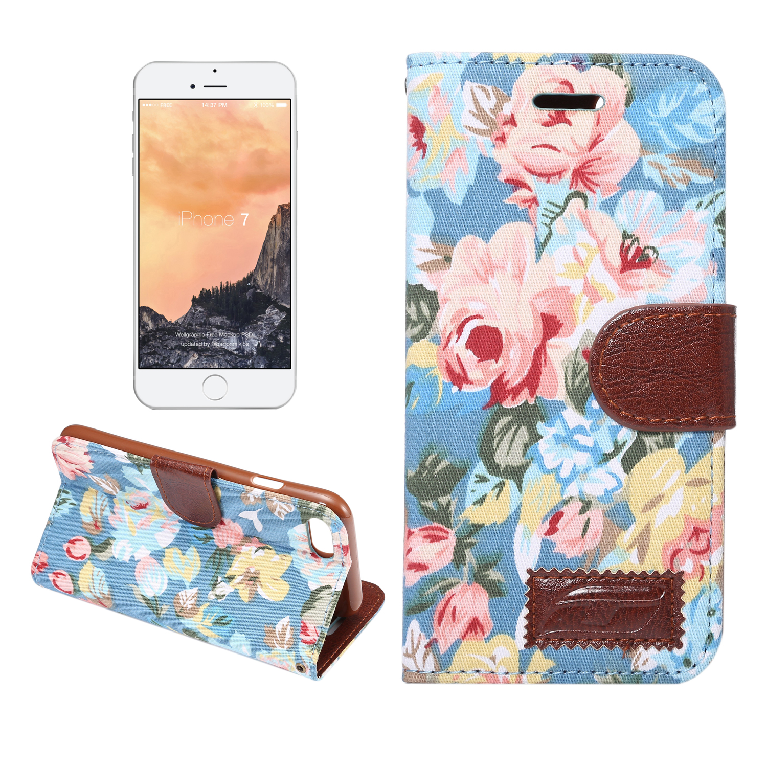 Bakeey Flower Cloth Card Slot Flip Bracket Protective Case for iPhone X/6/6S Plus/7/8 Plus