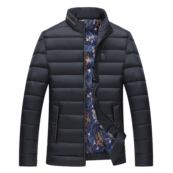 Mens Casual Fall Winter Outdoor Zipper Stand Collar Cotton Coats