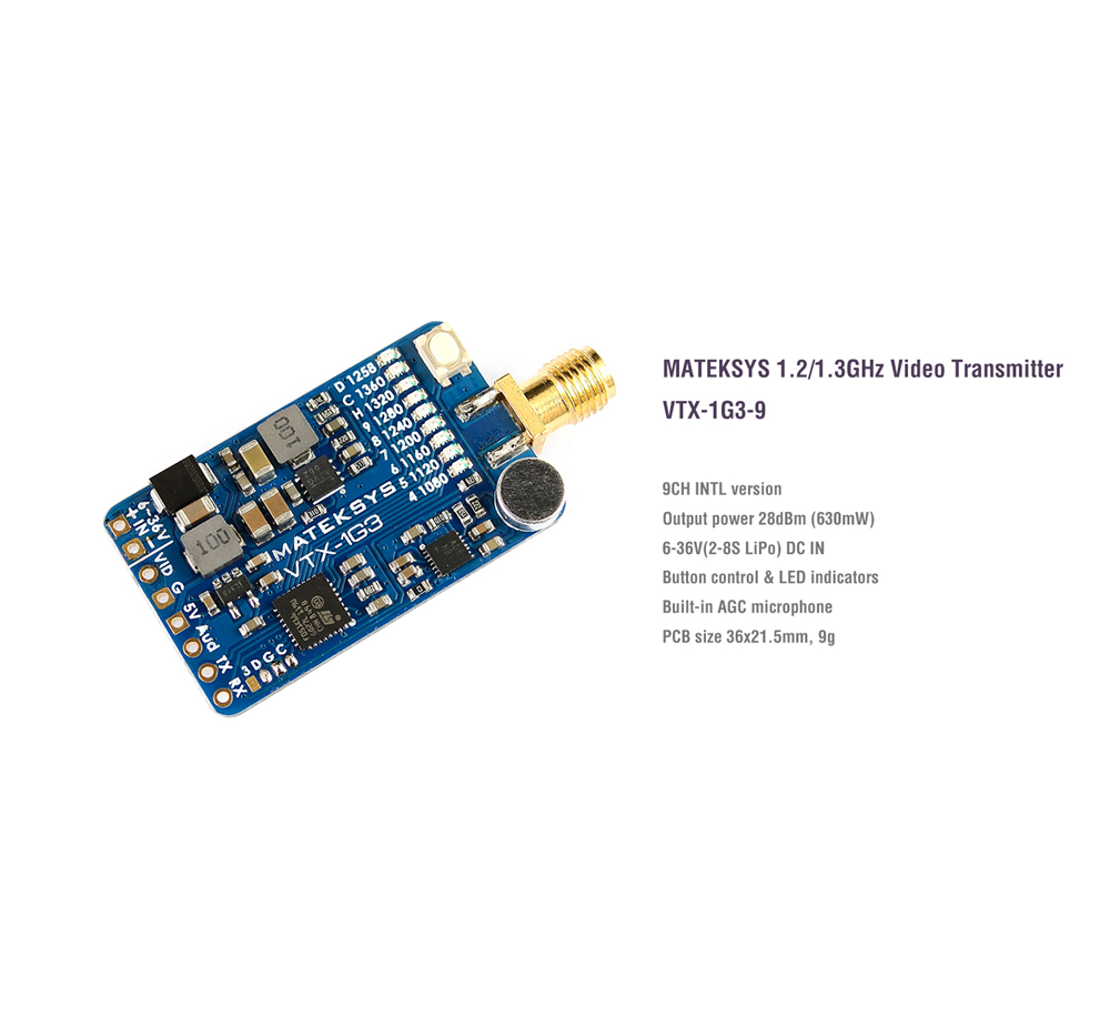 MATEK Systems VTX-1G3-9 1.2Ghz 1.3Ghz 9CH International INTL Version FPV Video Transmitter With VRX-1G3-V2 1.2/1.3GHz 9CH Wid Band FPV Video Receiver