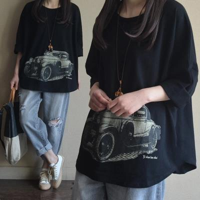 Plus Size Women Cute Car Print Cotton Tops Oversize Loose T shirt