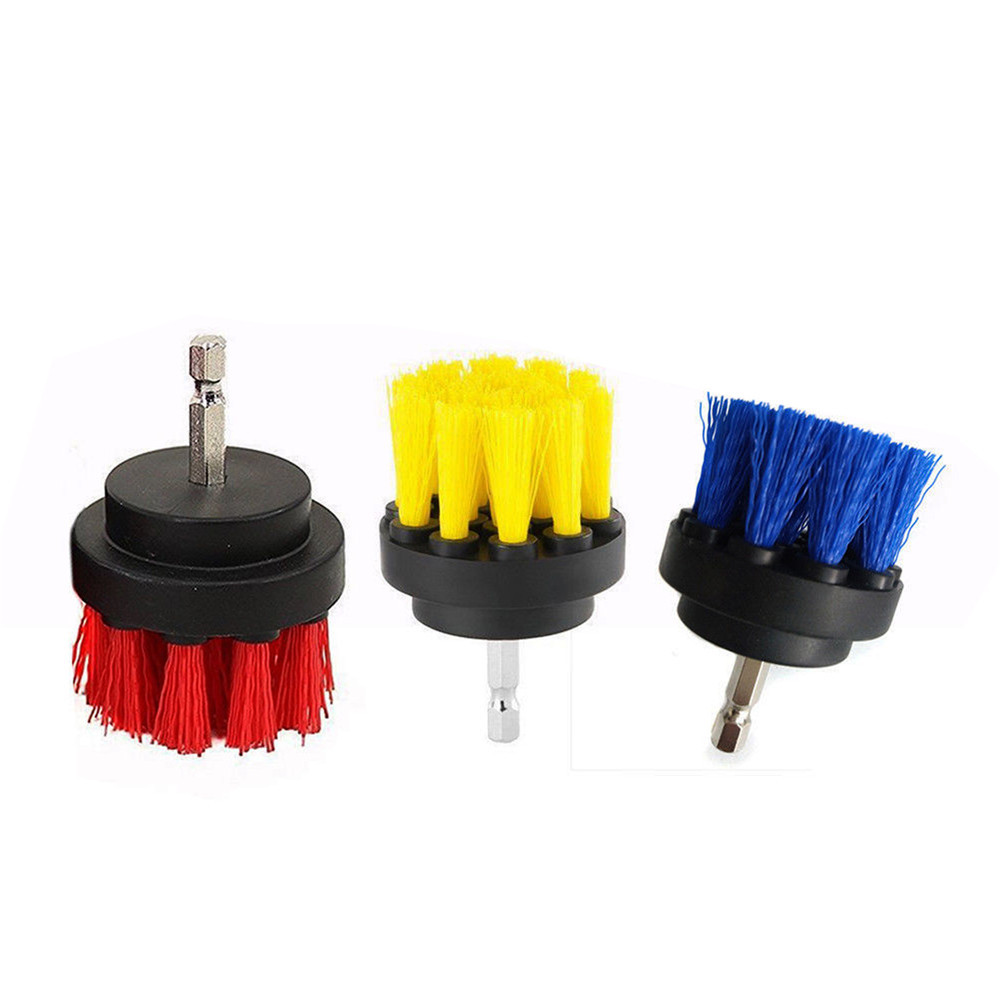 2pcs 2/3.5 Inch Red/Blue/Yellow Tile Grout Power Scrubber Cleaning Drill Brush for Power Drill