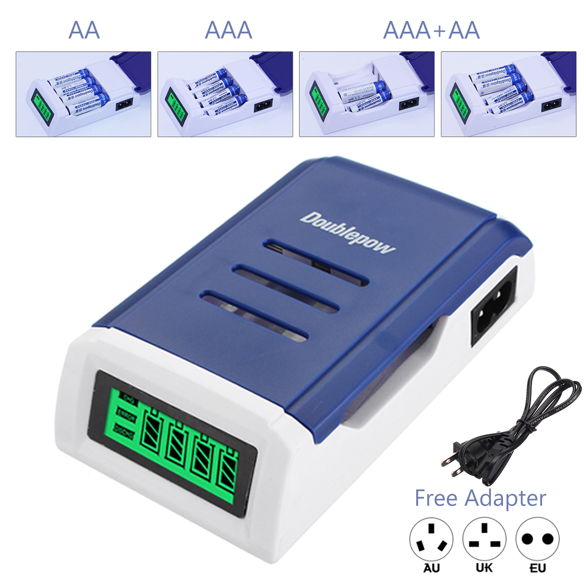 AC 100-240V LCD Display Intelligent Fast Battery Charger for AA AAA Rechargeable Batteries