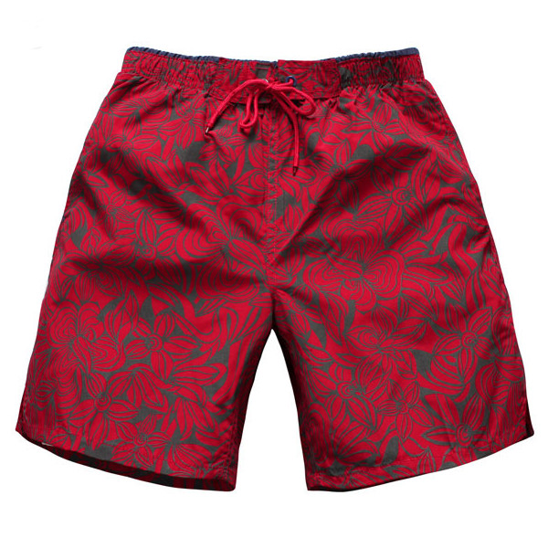 Summer Quick Drying Sports Shorts Mens Beach Knee Length Pants Casual Red Printing Shorts