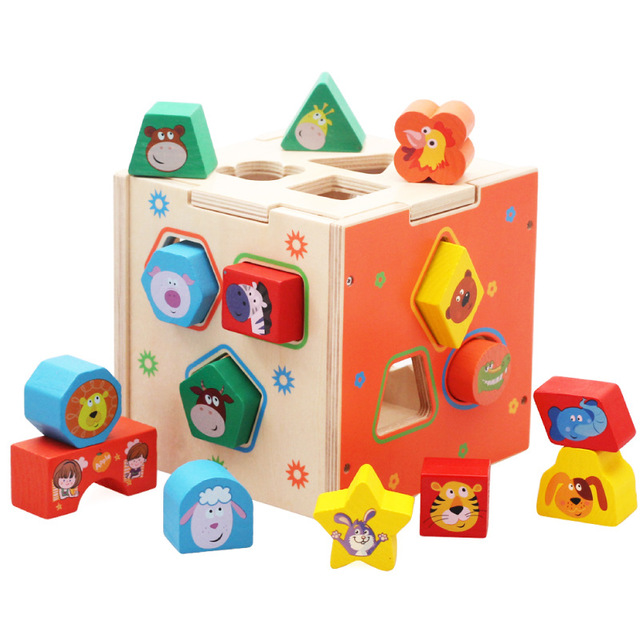Children's Educational Early Education Geometric Shape Wooden Paired Building Blocks Vibrating Toy Intelligence Box Kids Toys