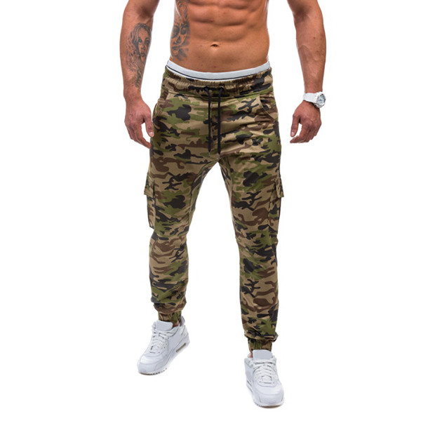 Mens Casual Running Camouflage Sport Pants Fitness Loose Multi Pockets Sweatpants