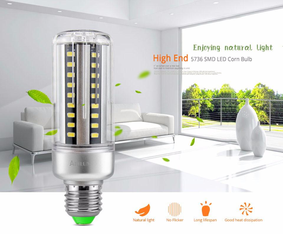 ARILUX® HL-CB 01 E27 E14 5W 7W 9W 12W 15W 20W 25W 5736 SMD Aluminum No Flicker LED Corn Bulb Light