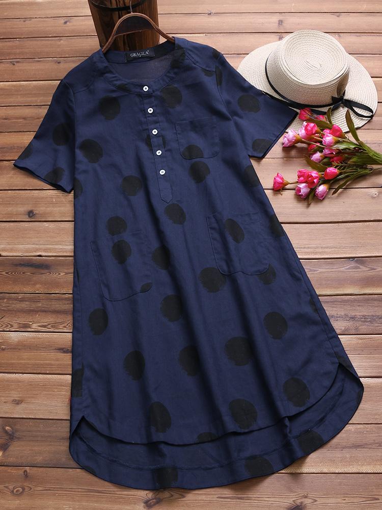 Vintage Polka Dot Short Sleeve Irregular Shirt Dress