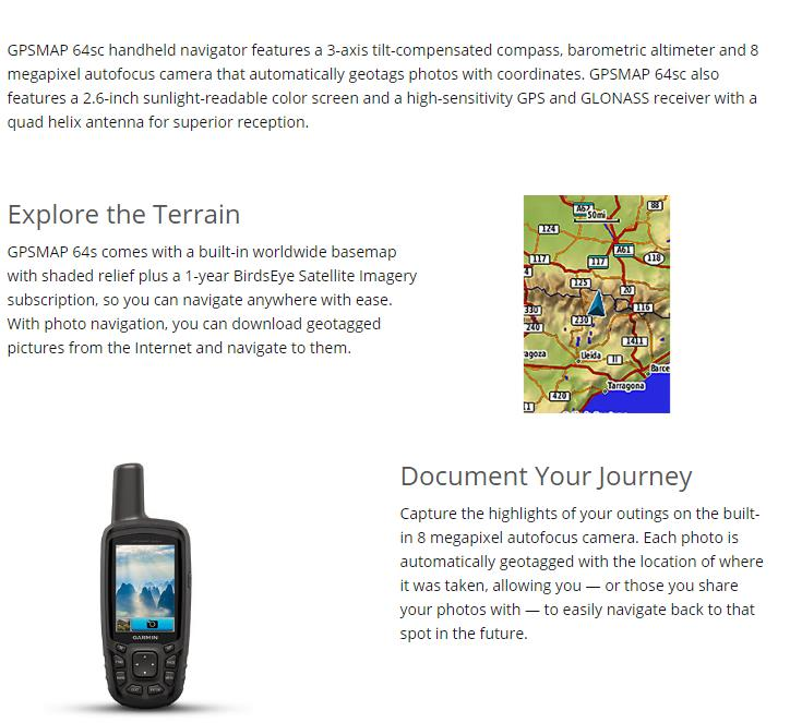 Garmin GPSMAP® 63sc Handheld with GPS/GLONASS Wireless Connectivity and Digital Camera