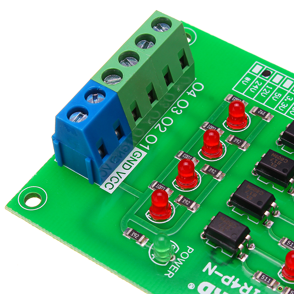 5V To 24V 4 Channel Optocoupler Isolation Board Isolated Module PLC Signal Level Voltage Converter Board 4Bit