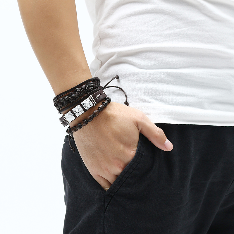 3 Pcs Retro Men's Bracelet Woven Bead Leather Wristband Bangle Jewelry for Men Clothing Accessories