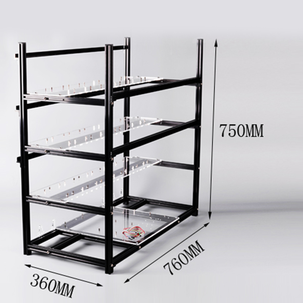 Aluminum Bitcoin Open Air Mining Rig Frame Stackable Case For 19GPU Open Pit Mining Rig With 18Fans
