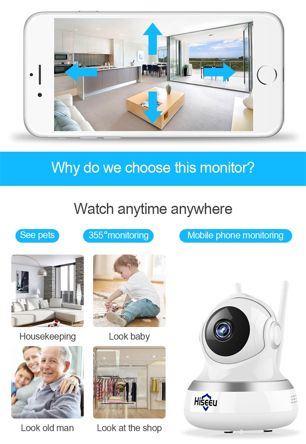 Hiseeu 1080P WiFi IP Camera CCTV Video Surveillance P2P IR Security Cloud TF Card Storage Camera