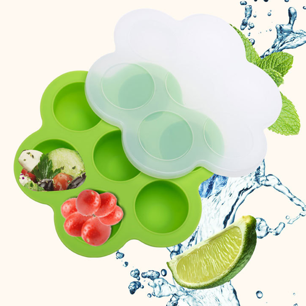 7 Holes Silicone Egg Bites Baking Mold Silicone DIY Kids Food Boxes Reusable Storage Container Freezer Tray With Lid Baking Tool