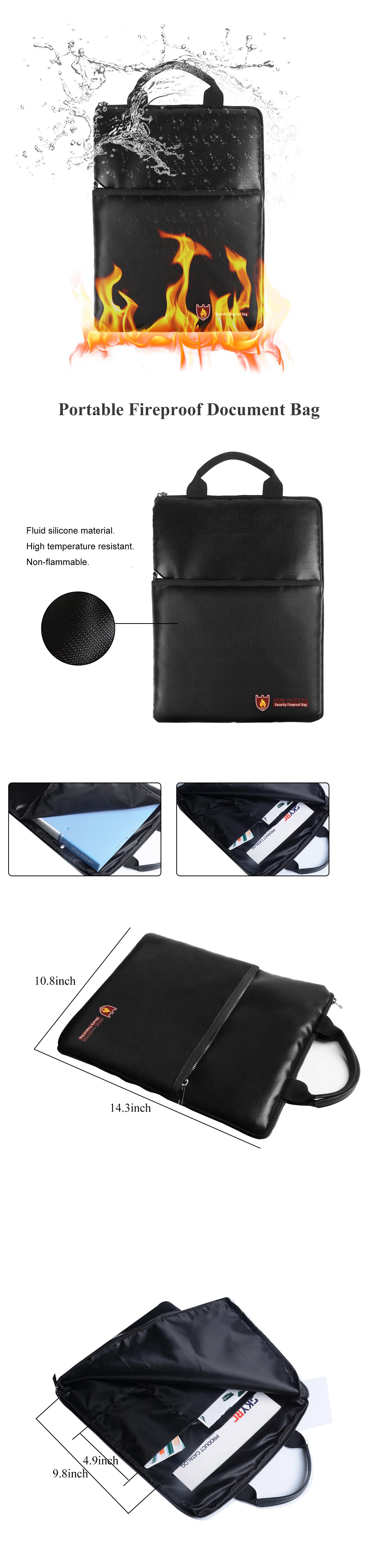 IPRee® Fireproof Document Safe Handbag Waterproof Business Briefcase Money Folder Holder Storage For Bank Cards Passport Cash