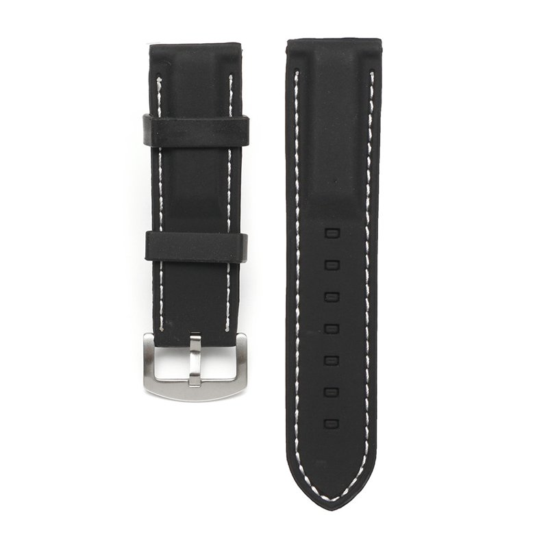 22/24mm Width Silicone Watch Band Wrist Rubber Mens Strap