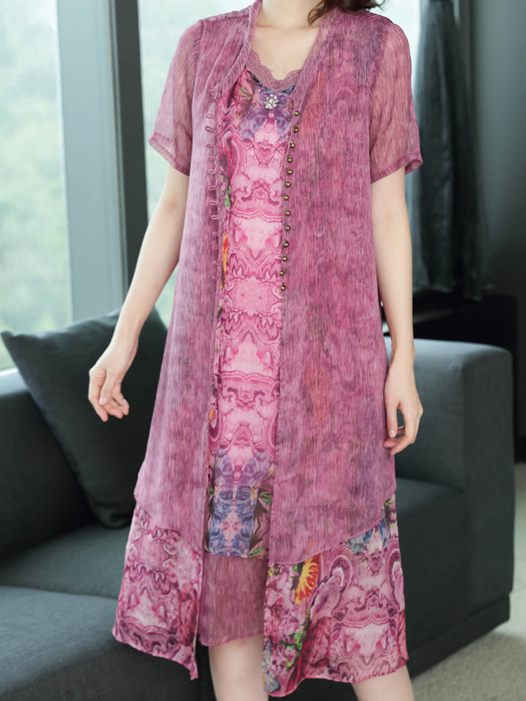 Vintage Floral Chiffon Patchwork Dress