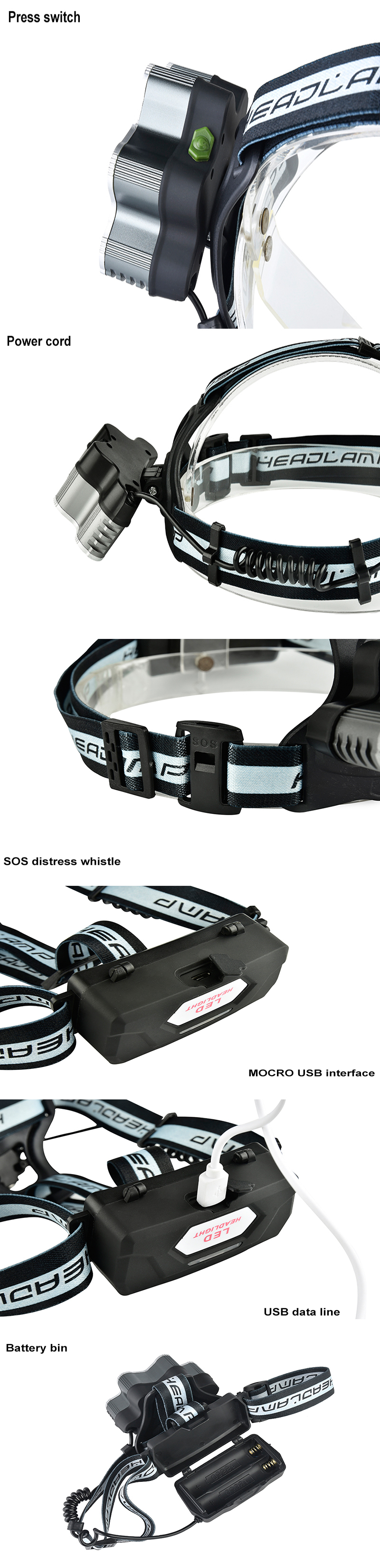 XANES 2501-B 2500 Lumens 9LED Cycling Headlamp 6 Switch Modes 7x T6+ 2x XPE Sport Light