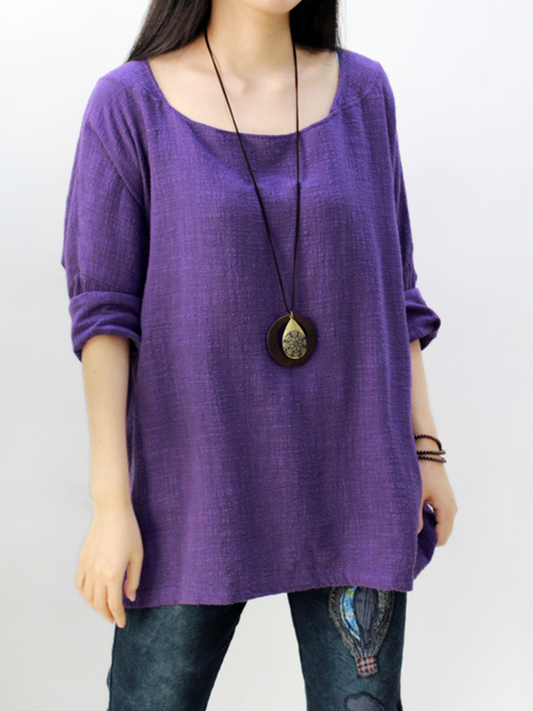 Women Vintage Solid Color Long Sleeves Blouse