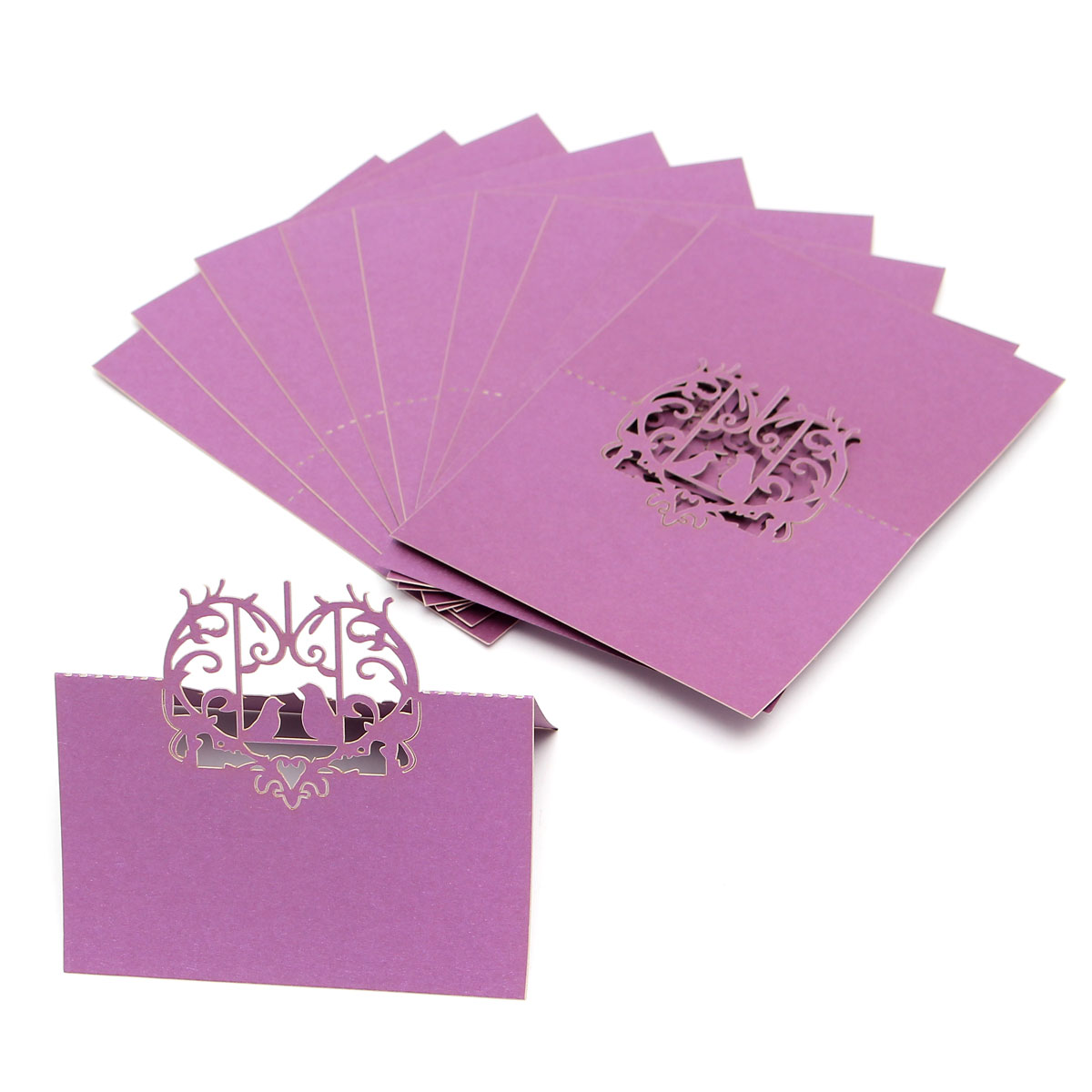 10Pcs Laser Cut Love Birds Table Name Place Cards Wedding Party Favor Gift Accessories