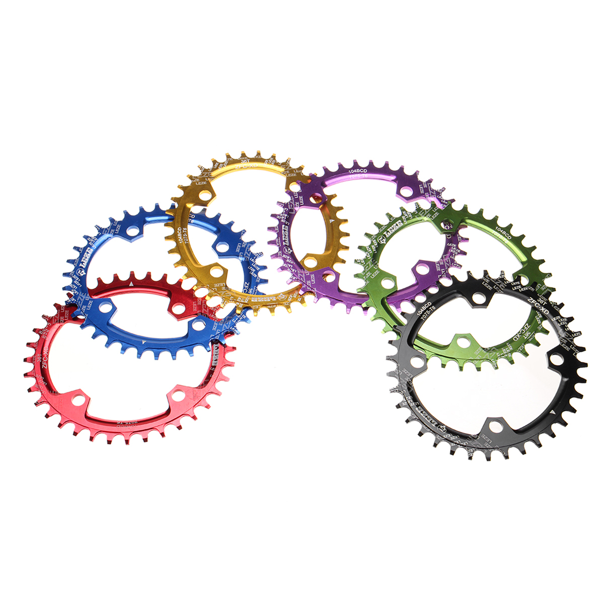 BIKIGHT 32/34T/36T Round Oval 104BCD Cycling Chainring Bike Bicycle Chainwheel Circle Crankset