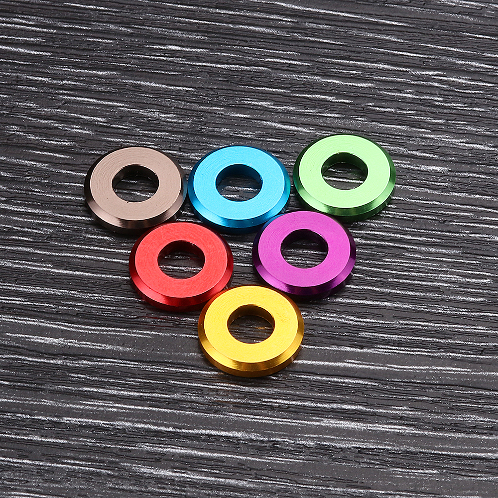 Suleve™ M5AW1 10Pcs M5 Aluminum Alloy Flat Fender Screw Washer Spacer Gasket Multicolor