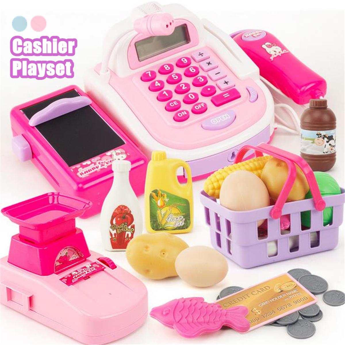 kids Supermarket Till  Cash Register Toy Gift Set Child Girl Shop Role Play