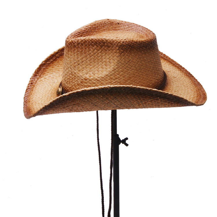 Unisex Cowboy Breathable Mesh With String Straw Hat