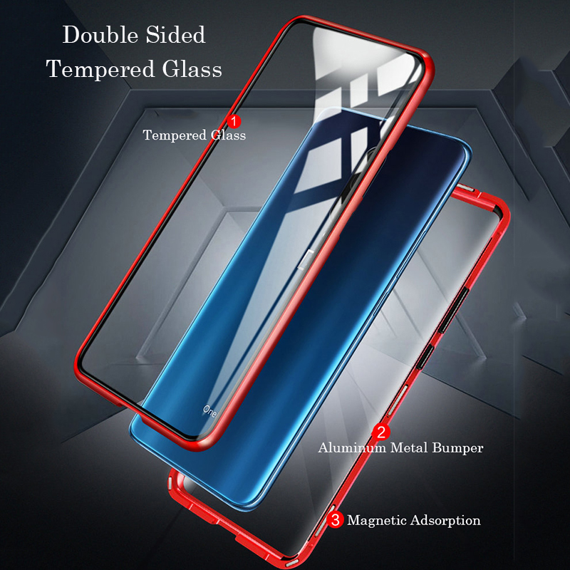 Bakeey Upgraded Version 360º Front+Back Double-sided Full Body 9H Tempered Glass Metal Magnetic Adsorption Flip Protective Case For OnePlus 7