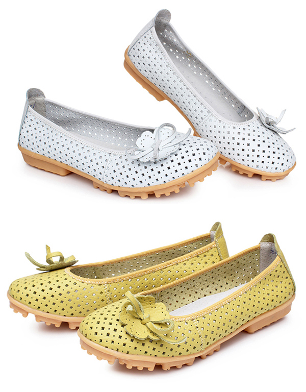 Women Flats Shoes Comfortable Soft Slip On Hollow Out Flower Casual Flats Loafers Shoes