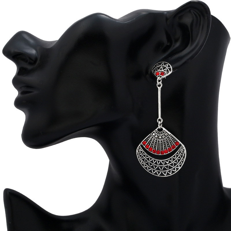 Retro Red Rhinestone Antique Silver Sector Ear Drop Vintage Earrings for Women