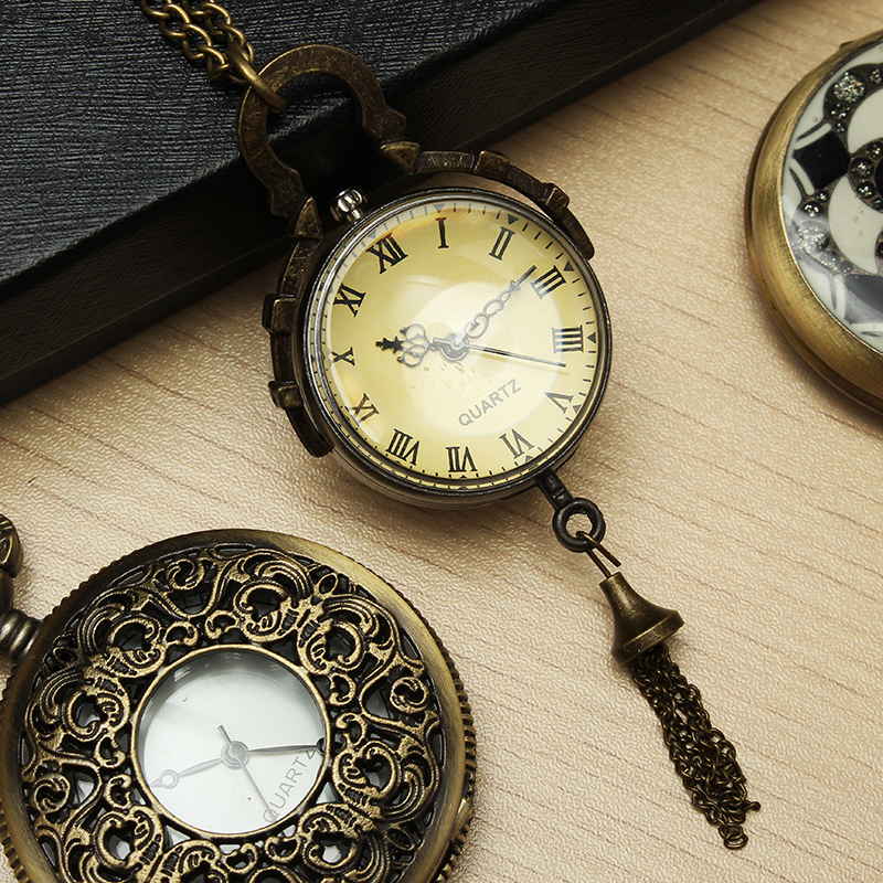 DEFFRUN Vintage Big Bells Roman Number Chain Pocket Watch