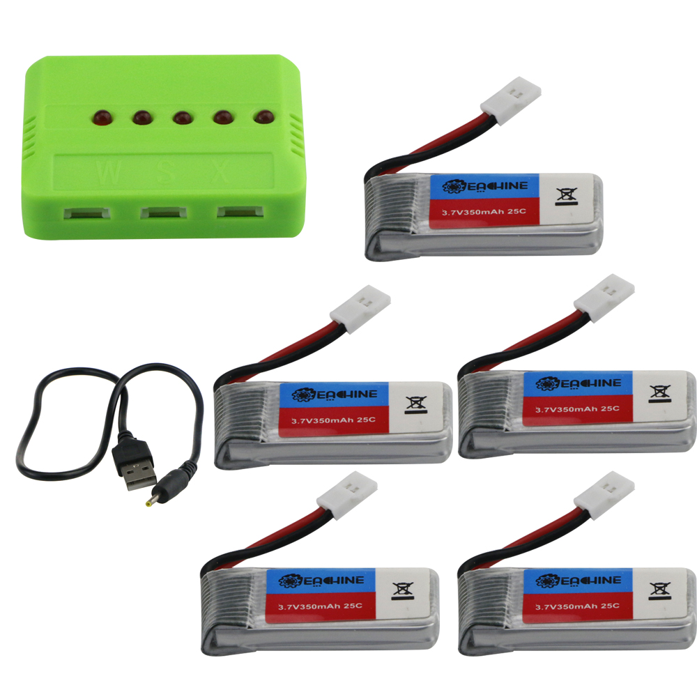 Eachine E016H RC Quadcopter Spare Parts 5Pcs 3.7V 350mAh Lipo Battery with 5-in-1 Charger USB Cable