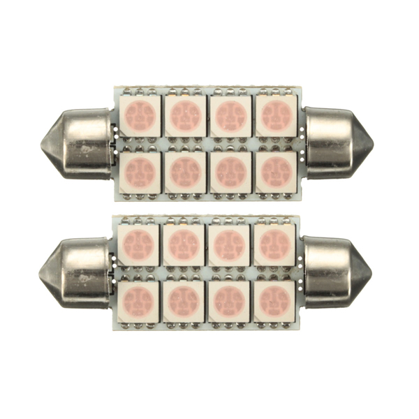 2x 264 C5W 42mm Canbus 5050 8 SMD LED Pink Festoon Dome Map Interior Light Bulb