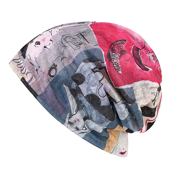 Women Lace Art Print Beanies Cap Outdoor Warm Scarf