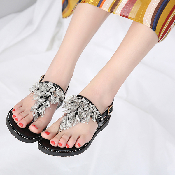 Rhinestone Beaded Sandals Casual Women Roman Shoes