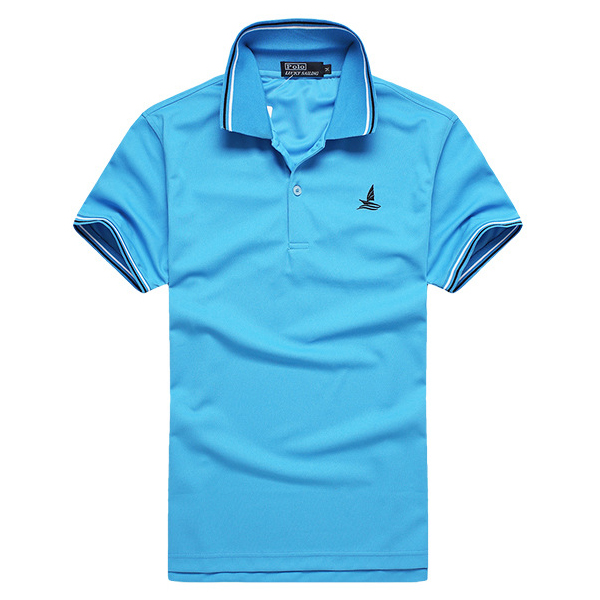 Mens Summer Quick Drying Contrast Color Collar Striped Turn-down T-shirt Short Sleeve Polo Shirt