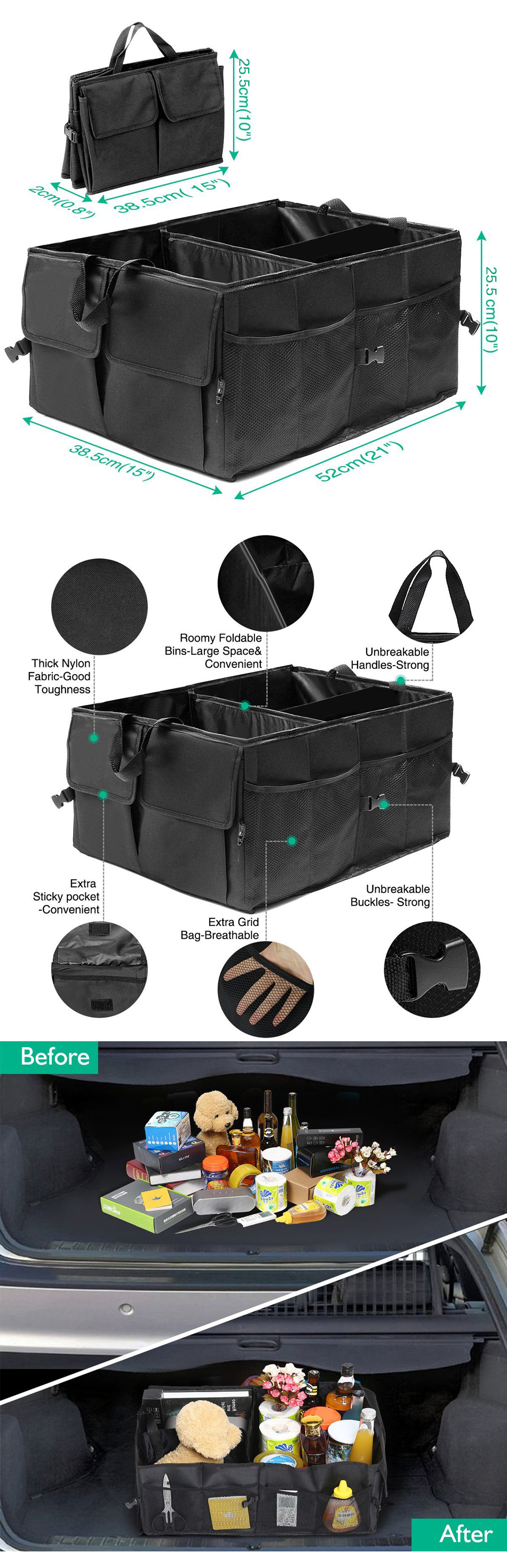 Foldable Car Rear Trunk Storage Bag Travel Organizer Holder Interior Big Capacity Box