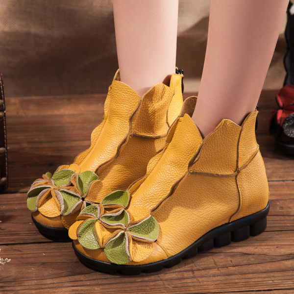 SOCOFY Flower Soft Leather Ankle Vintage Slip On Flat Boots