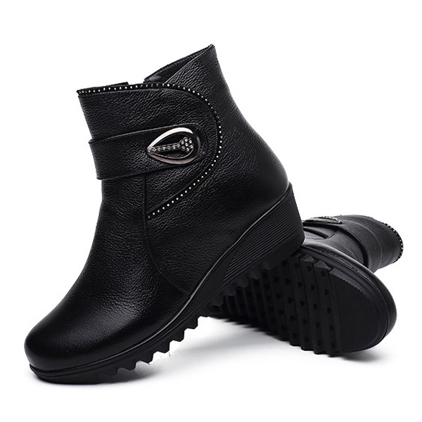 Big Size Women Winter Cotton Zipper Boots Wedge Woolen Ankle Short Boots Anti Skid Shoes