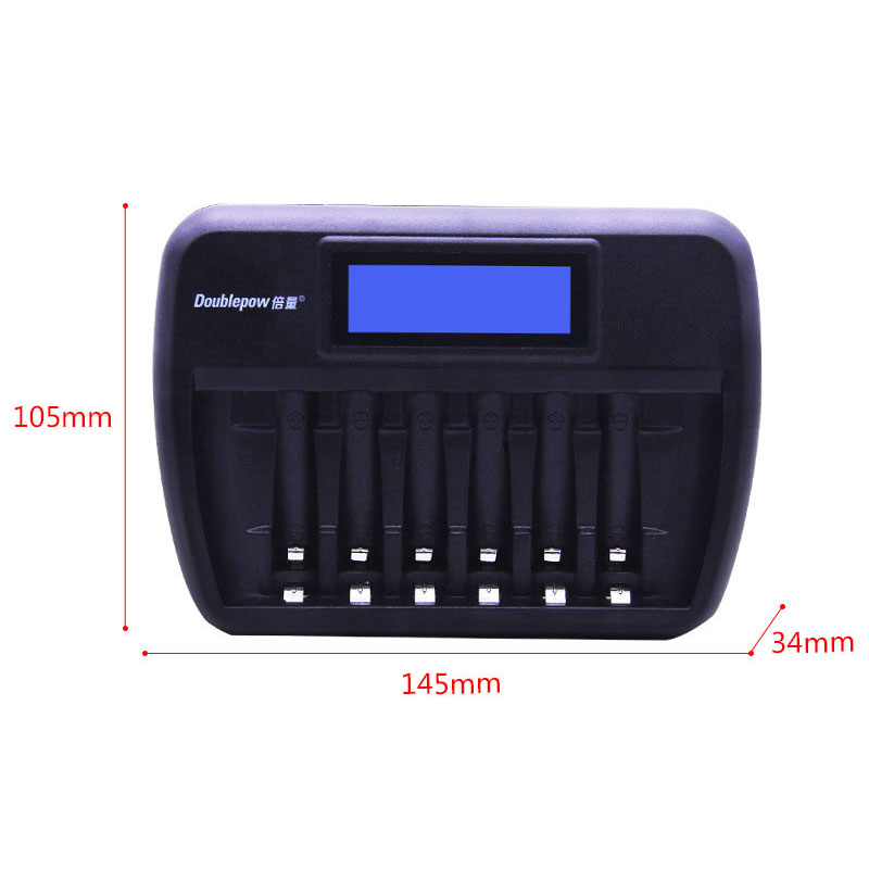 Doublepow K66 6 Slot Quick Charge AA AAA Rechargeable Battery Charger with LCD Display